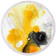 Yellow Orange Abstract Art - The Dreamer - By Sharon Cummings Round Beach Towel by Sharon Cummings