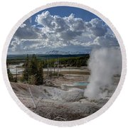 Round Beach Towel featuring the photograph Yellowstone's Norris Geyser Basin by Bill Gabbert