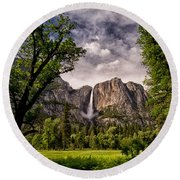 Yosemite Falls Round Beach Towel by Cat Connor