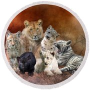 Young And Wild Round Beach Towel by Carol Cavalaris