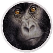 Young Gorilla Painting Round Beach Towel by Rachel Stribbling