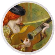 Young Spanish Woman With A Guitar Round Beach Towel by Pierre Auguste Renoir