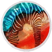 Zebra Love - Art By Sharon Cummings Round Beach Towel by Sharon Cummings