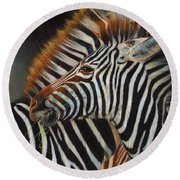 Zebras Round Beach Towel by David Stribbling