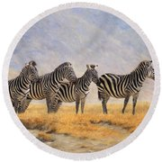 Zebras Ngorongoro Crater Round Beach Towel by David Stribbling
