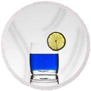Blue Cocktail With Lemon Round Beach Towel by Joana Kruse
