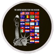 Allied Nations Fight For Freedom Round Beach Towel by War Is Hell Store