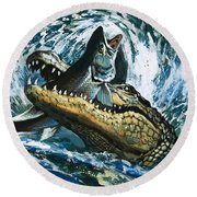 Alligator Eating Fish Round Beach Towel by English School