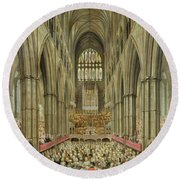 An Interior View Of Westminster Abbey On The Commemoration Of Handel's Centenary Round Beach Towel by Edward Edwards