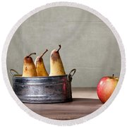 Apple And Pears 01 Round Beach Towel by Nailia Schwarz