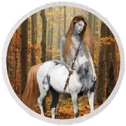 Centaur Series Autumn Walk Round Beach Towel by Nikki Marie Smith