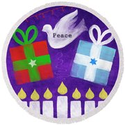 Christmas And Hanukkah Peace Round Beach Towel by Linda Woods