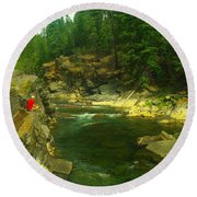 Cliff Over The Yak River Round Beach Towel by Jeff Swan