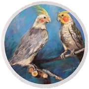 Coctaiel Parrots Round Beach Towel by Ylli Haruni