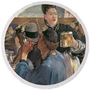 Corner Of A Cafe-concert Round Beach Towel by Edouard Manet