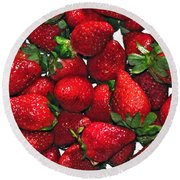 Deliciously Sweet Strawberries Round Beach Towel by Kaye Menner