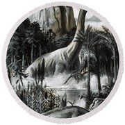 Dinosaurs Round Beach Towel by Roger Payne