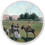 Donkey Ride Round Beach Towel by Camille Pissarro