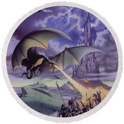 Dragon Combat Round Beach Towel by The Dragon Chronicles - Steve Re