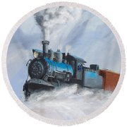 First Train Through Round Beach Towel by Christopher Jenkins