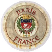 French Coat Of Arms Round Beach Towel by Debbie DeWitt