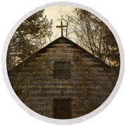 Grungy Hand Hewn Log Chapel Round Beach Towel by John Stephens