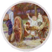 Happy As The Days Are Long Round Beach Towel by Frederick Morgan
