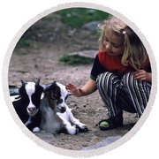 In The Petting Zoo Round Beach Towel by Heiko Koehrer-Wagner