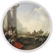 Italian Peasants Among Ruins Round Beach Towel by Jan Weenix