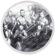 Jean Goldkette Orchestra 1926 Round Beach Towel by Mel Thompson