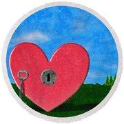 Key To My Heart Round Beach Towel by Jeff Kolker