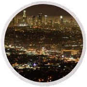 Los Angeles  City View At Night  Round Beach Towel by Bob Christopher
