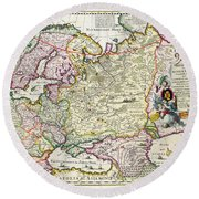 Map Of Asia Minor Round Beach Towel by Nicolaes Visscher