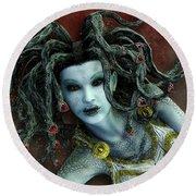Medusa Round Beach Towel by Jutta Maria Pusl