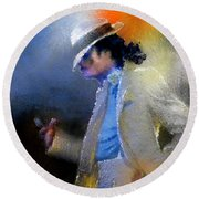 Michael Jackson 10 Round Beach Towel by Miki De Goodaboom