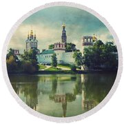 Novodevichy Convent. Moscow Russia Round Beach Towel by Juli Scalzi