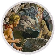 Oedipus Encountering The Sphinx Round Beach Towel by Roger Payne