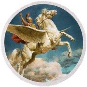 Pegasus The Winged Horse Round Beach Towel by Fortunino Matania