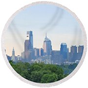 Philly Skyline Round Beach Towel by Bill Cannon