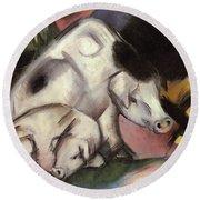 Pigs Round Beach Towel by Franz Marc