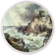 Point Lobos At Monterey In California Round Beach Towel by Thomas Moran
