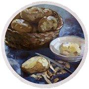 Potatoes Round Beach Towel by Ylli Haruni