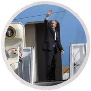 President George Bush Waves Good-bye Round Beach Towel by Stocktrek Images