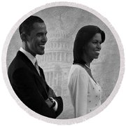 President Obama And First Lady Bw Round Beach Towel by David Dehner