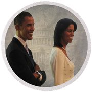 President Obama And First Lady Round Beach Towel by David Dehner