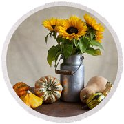 Pumpkins And Sunflowers Round Beach Towel by Nailia Schwarz