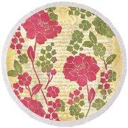 Raspberry Sorbet Floral 1 Round Beach Towel by Debbie DeWitt
