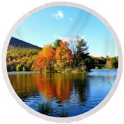 Sharp Top Mountain Round Beach Towel by Todd Hostetter