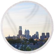 Skyline View Of Philadelphia Round Beach Towel by Bill Cannon