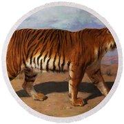 Stalking Tiger Round Beach Towel by Rosa Bonheur